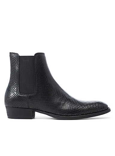 Simons Black Crocodile Chelsea boots for men