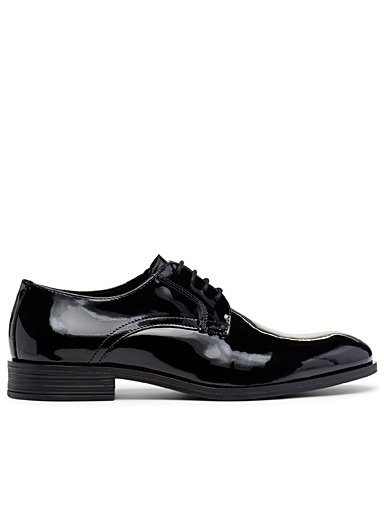 Simons Black Patent leather derby shoes for men