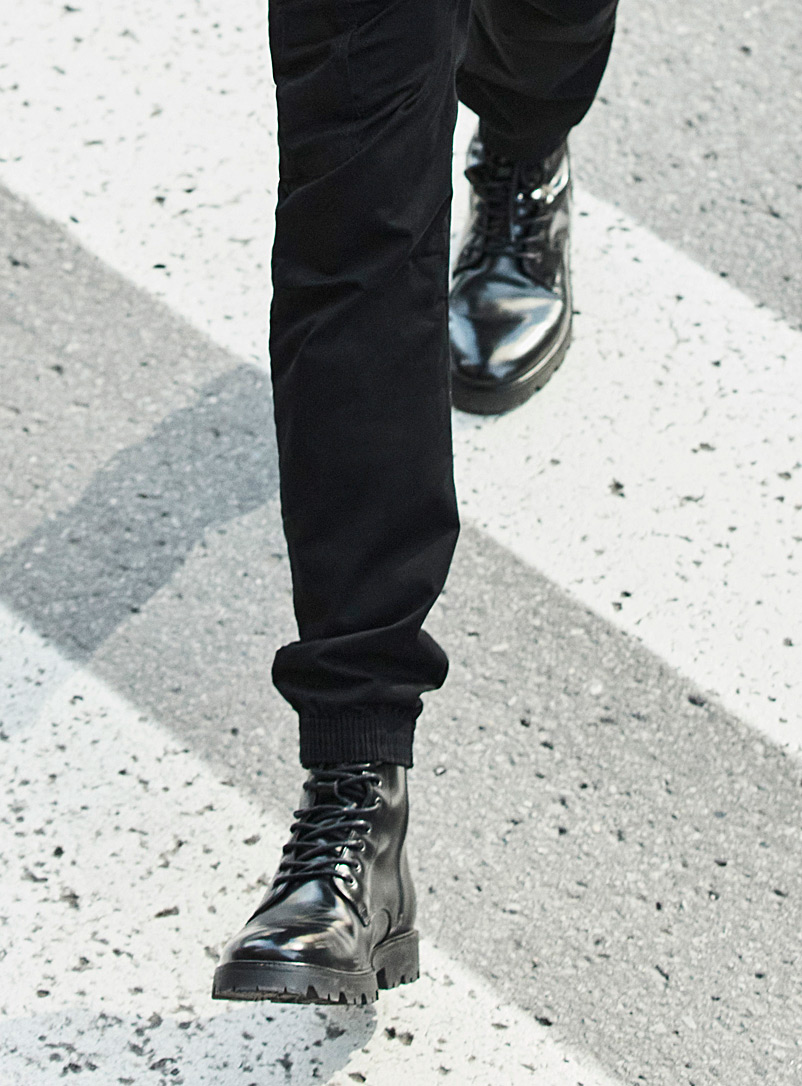 Simons Black Combat leather lace-up boots Men for men