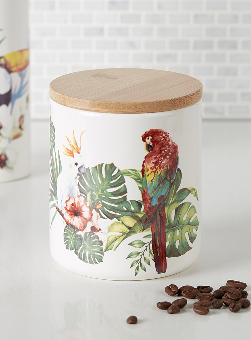 Exotic bird decorative jar - Decorative Jars - Patterned White