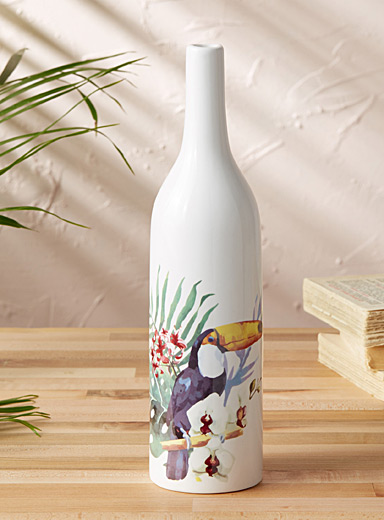 Exotic bird decorative vase