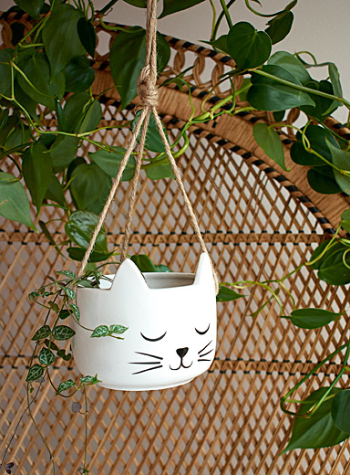 Dreamy cat hanging planter