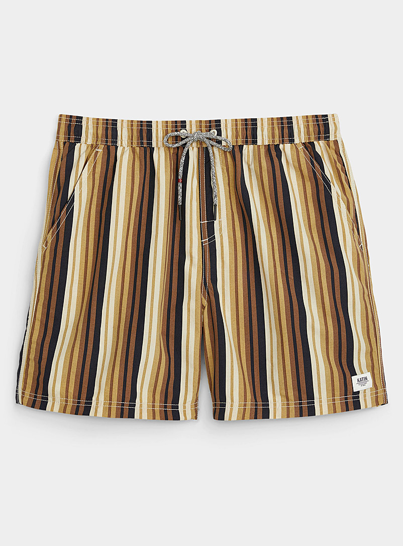 Katin Patterned Yellow Sepia striped swim trunk for men