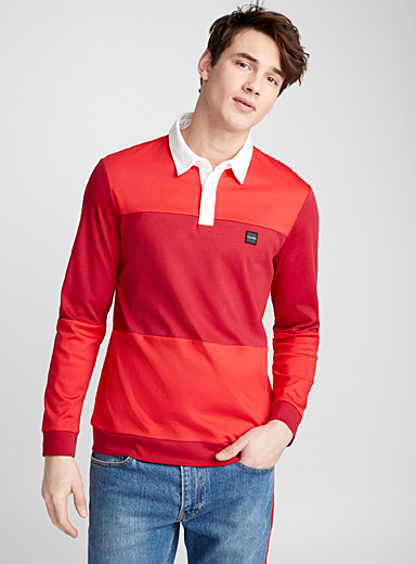 Block-style liquid cotton polo