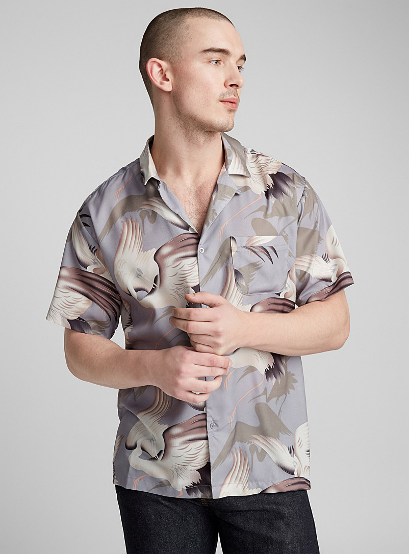 Japanese bird fluid shirt - Patterns - Mauve