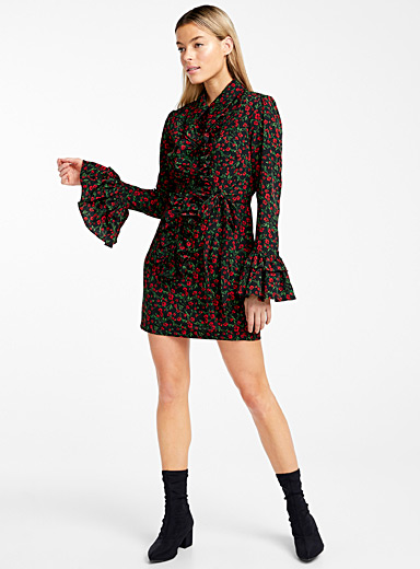 Wild rose gathered shirtdress