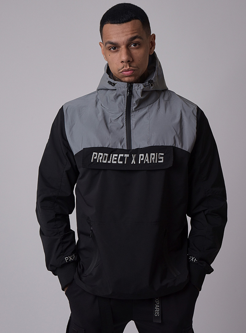 Project X Paris Black Reflective block anorak for men