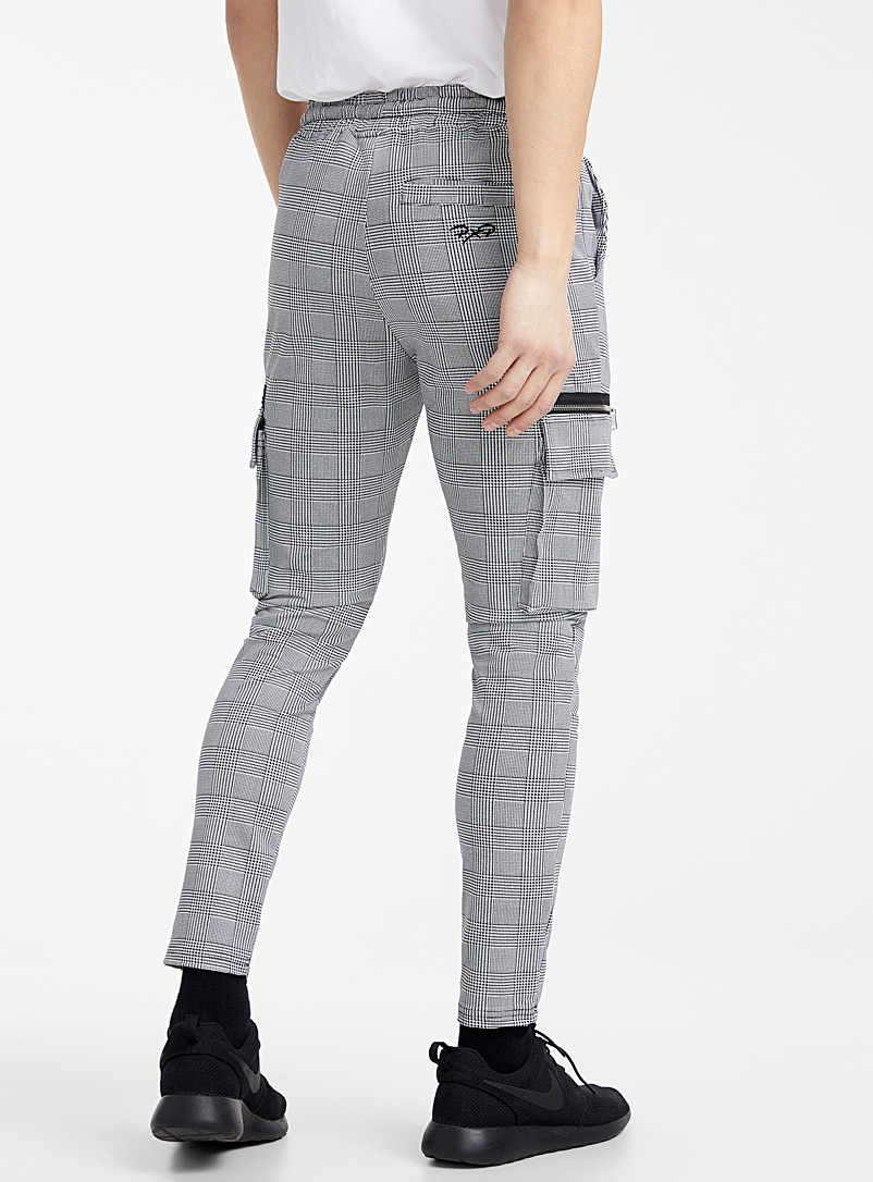 Project X Paris White Prince of Wales cargo joggers for men