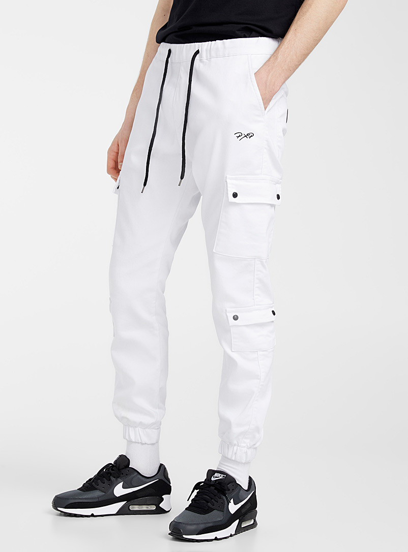 Project X Paris White Stretch tactical joggers for men