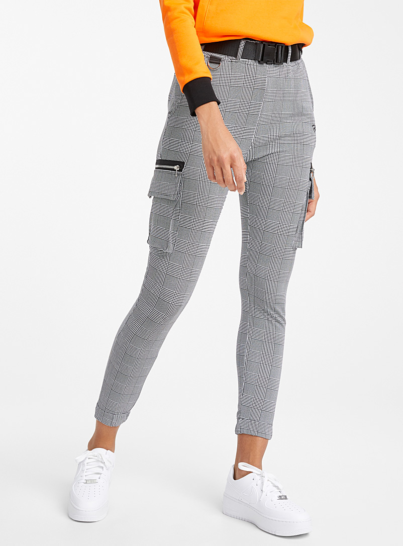 Project X Paris Patterned grey  Plaid cargo joggers for women