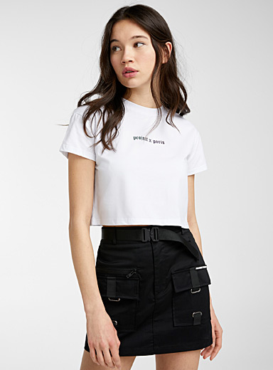 Project X Paris White Cropped two-logo tee for women