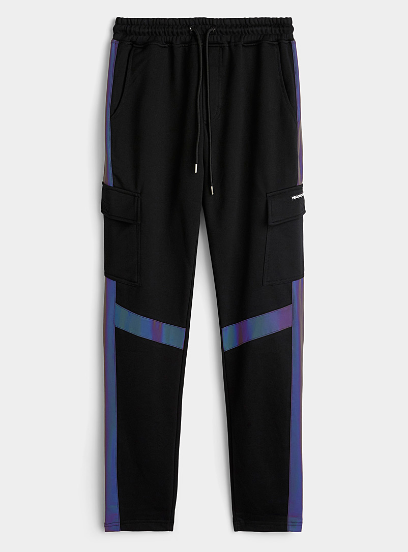 Project X Paris Black Reflective band cargo joggers for men
