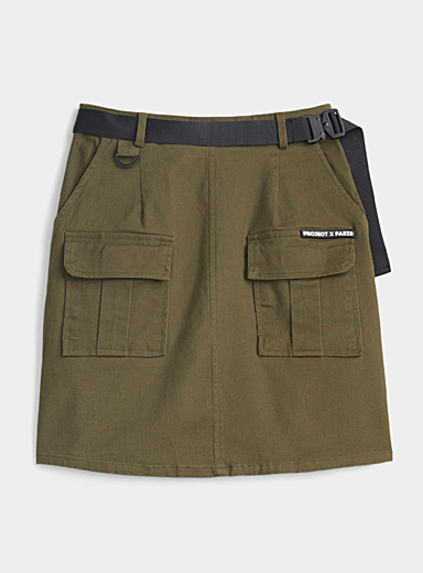 Project X Paris Khaki Khaki utility miniskirt for women