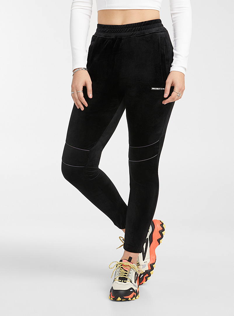 Project X Paris Black Trimmed-knee velvet joggers for women