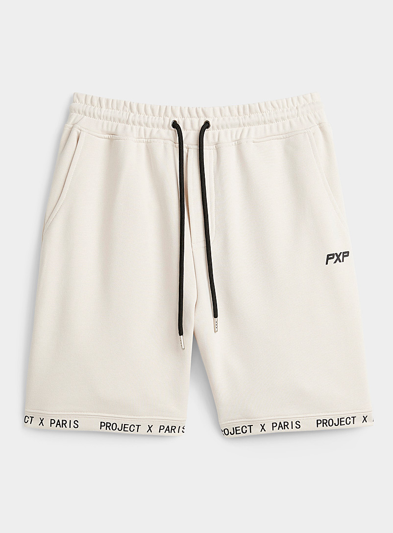 Project X Paris Cream Beige Logo sweatshirt short for men