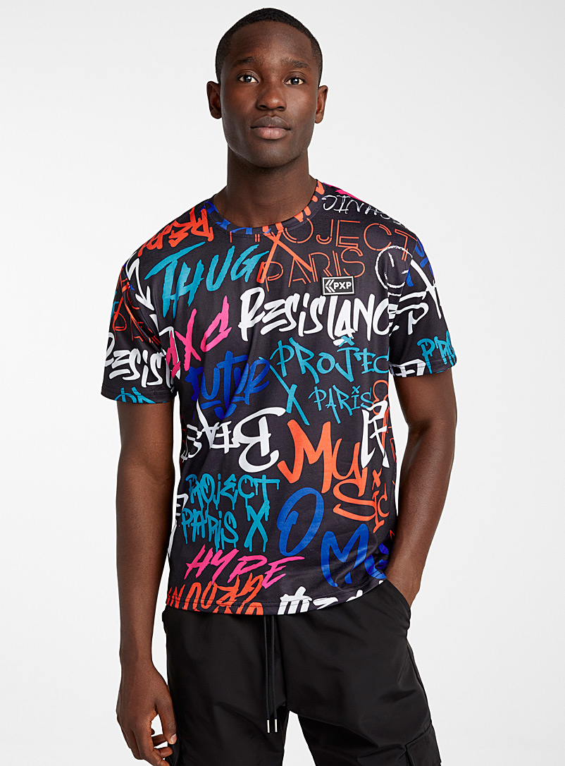 Project X Paris: Le t-shirt graffiti Noir pour homme