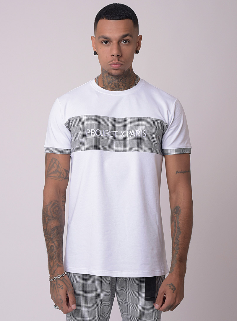 Project X Paris White Prince of Wales accent T-shirt for men