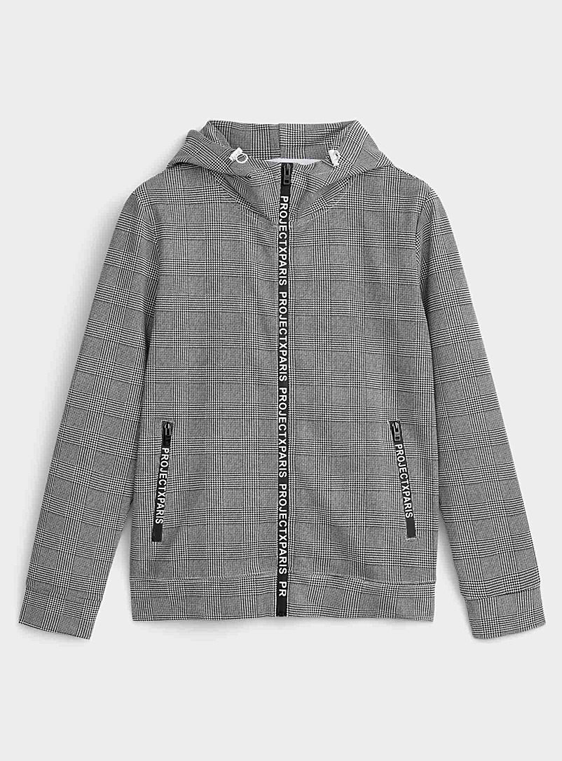Project X Paris Grey Prince of Wales hooded cardigan for men