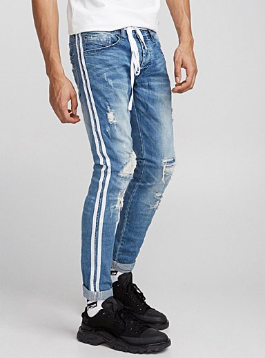 Distressed athletic jean  Skinny fit