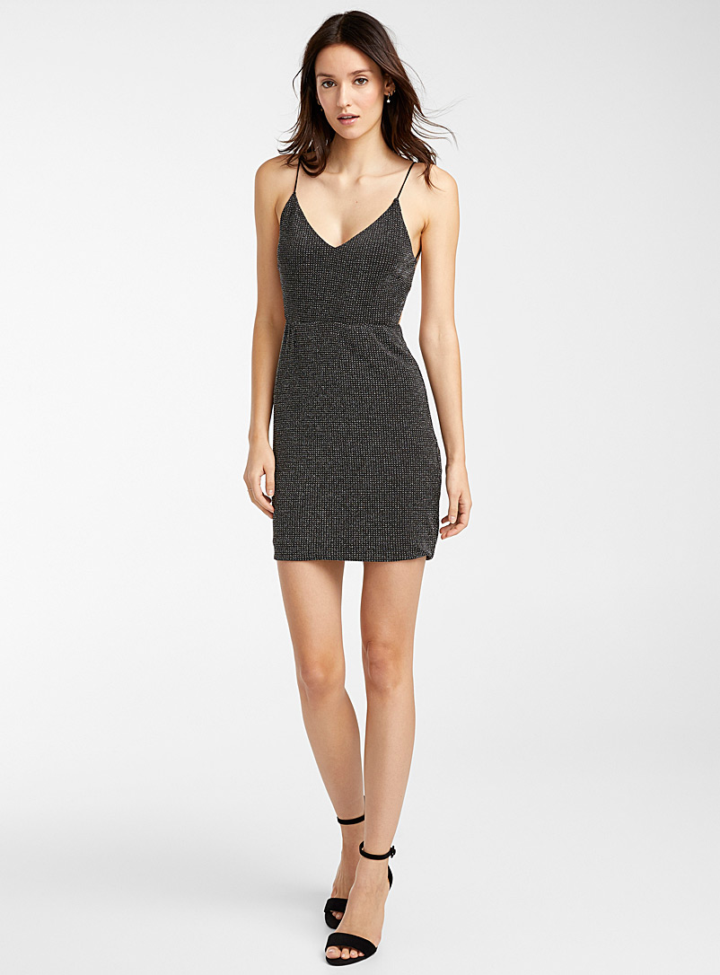 Icône Black Sparkly disco dress for women