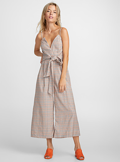 Orange outlined check jumpsuit