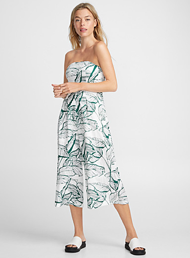 Traced foliage bustier jumpsuit