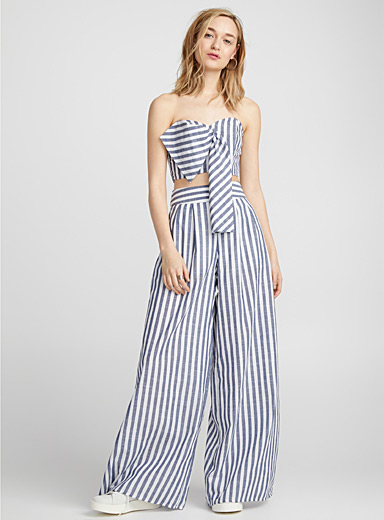 Ultra wide-leg striped pant