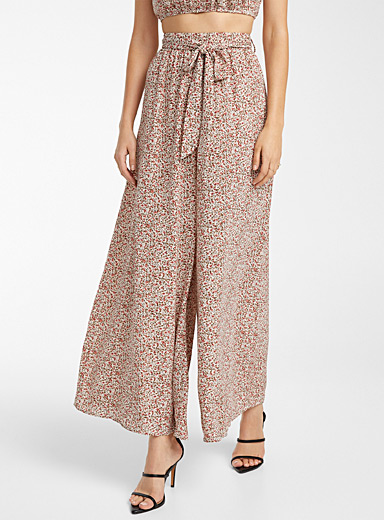 Icône Patterned Black Mini wildflower palazzo pant for women