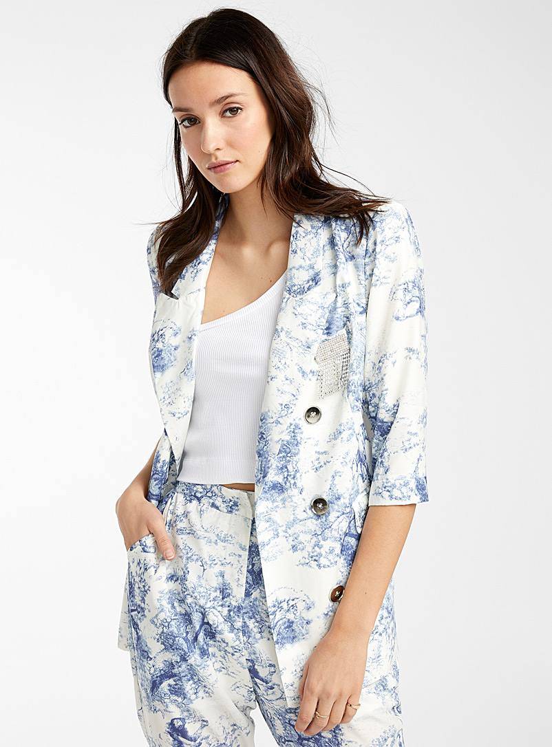 Icône Patterned White Silky toile de Jouy jacket for women