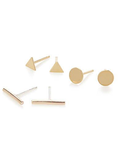 Golden geo earrings  Set of 3