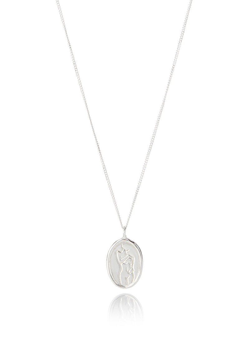 Wolf Circus Patterned Grey Femme medallion necklace for women
