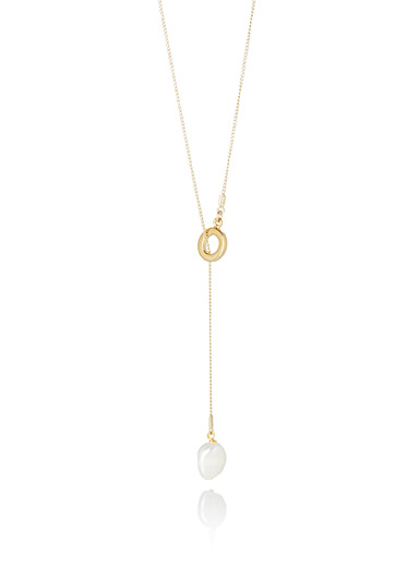 Lariat pearl necklace