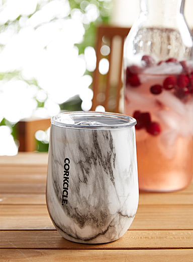 Corkcicle Patterned White White marble insulated glass