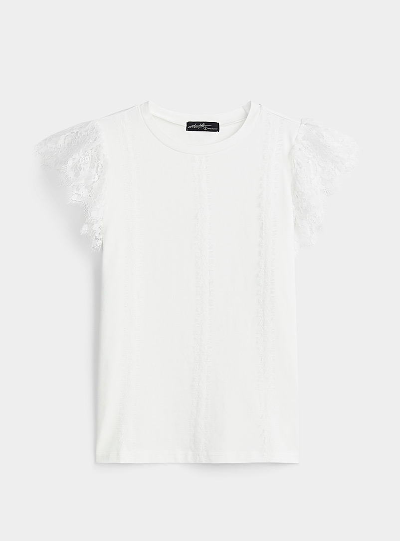 Twik White Eyelash lace tee for women