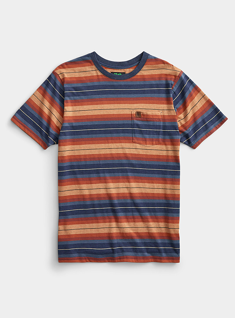 Hippy Tree Marine Blue Horizon stripe T-shirt for men