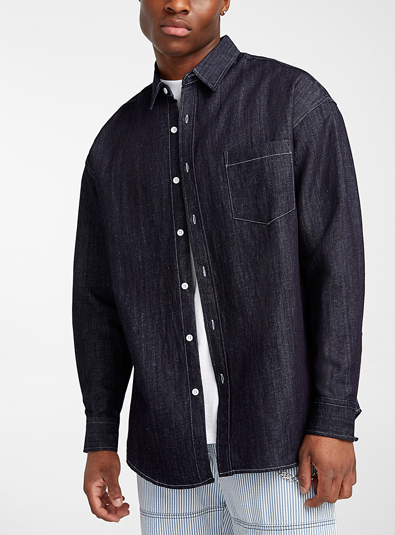 Indigo denim loose shirt