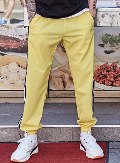 Yellow track joggers