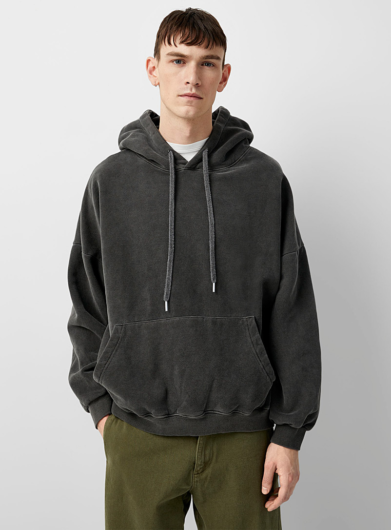 Le 31 Charcoal Faded hooded sweatshirt for men