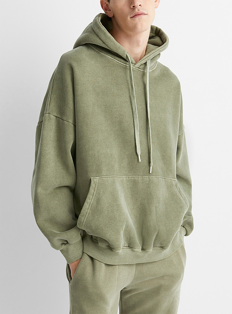 Le 31 Mossy Green Faded hooded sweatshirt for men