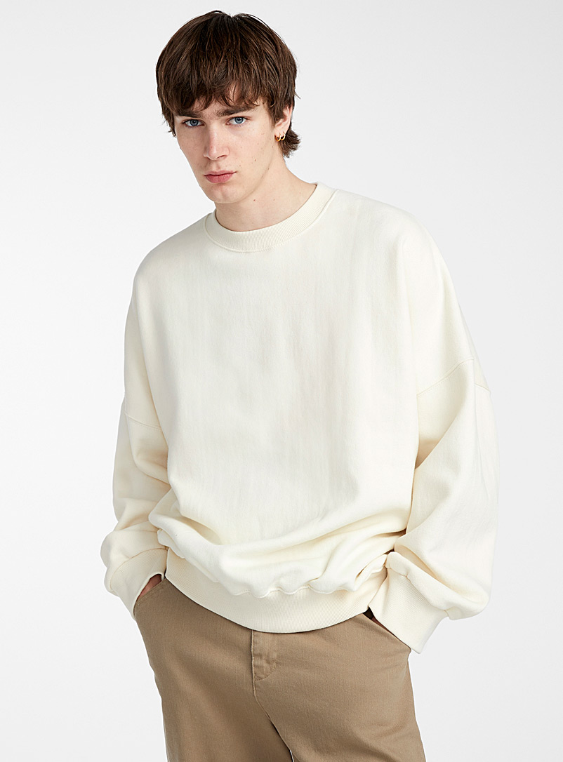 Le 31 Cream Beige Loose pastel sweatshirt for men