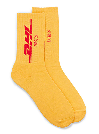 DHL logo ribbed socks