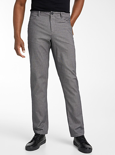 Le 31 Grey Black-and-white piqué pant  London fit-Slim straight for men