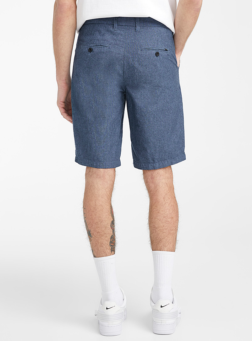 Djab Blue Organic cotton heathered oxford Bermudas for men