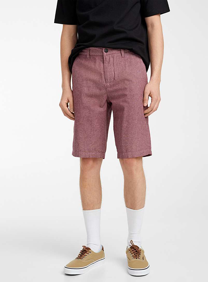 Djab Red Organic cotton heathered oxford Bermudas for men
