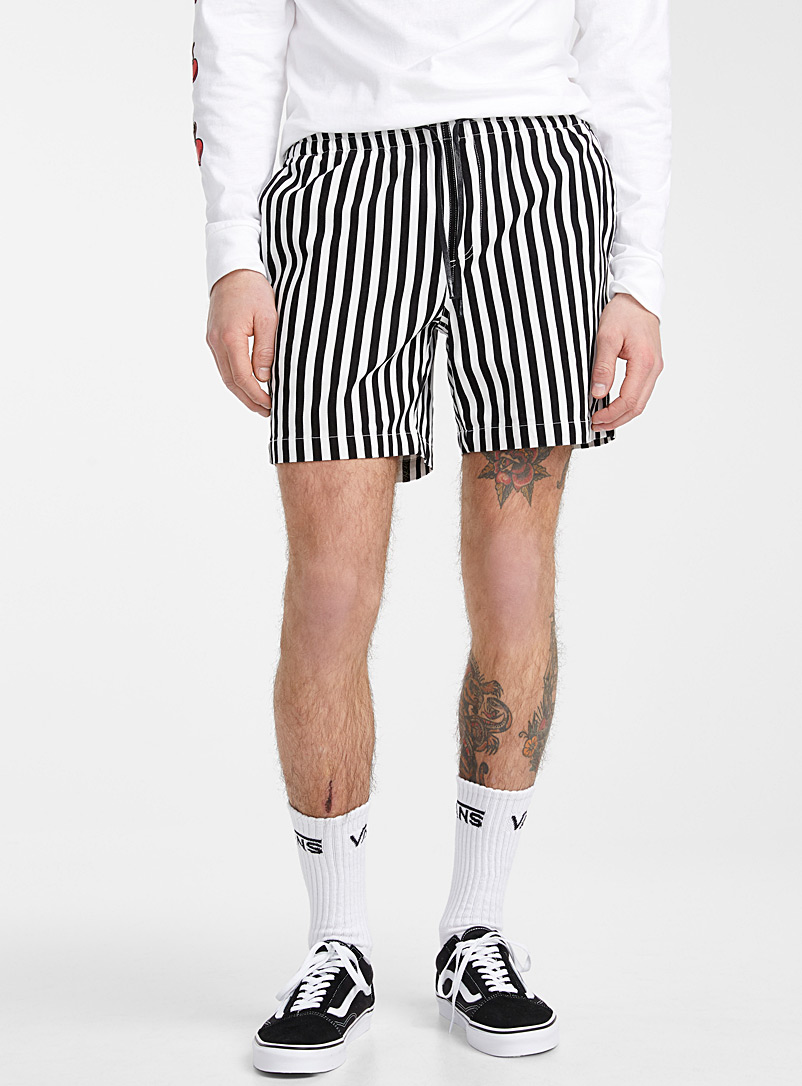 Djab Black and White Organic cotton vertical stripe short for men