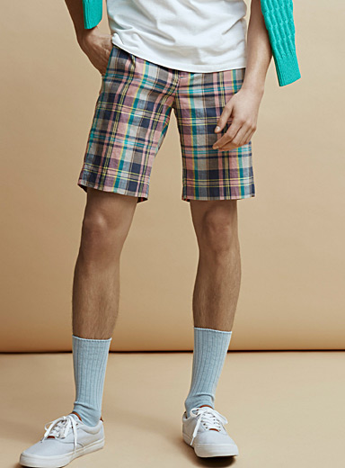 Le 31 Patterned Blue Madras check Bermudas for men