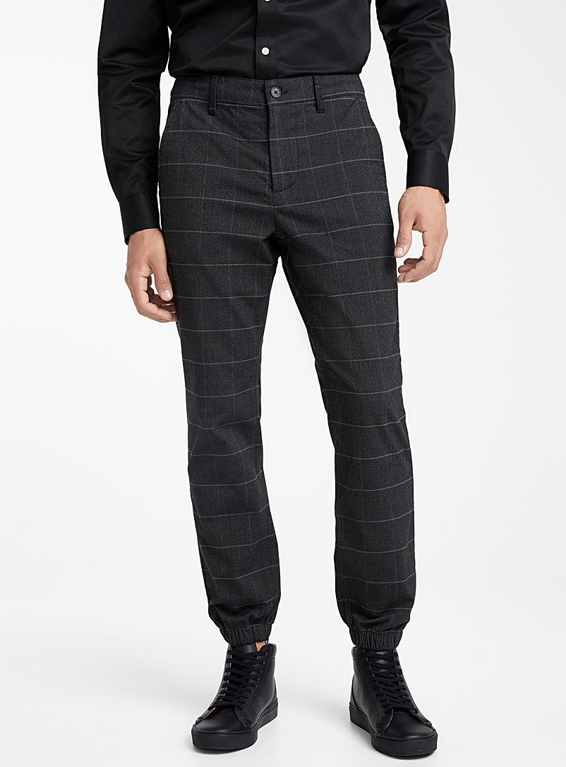 Windowpane check joggers - Joggers - Grey