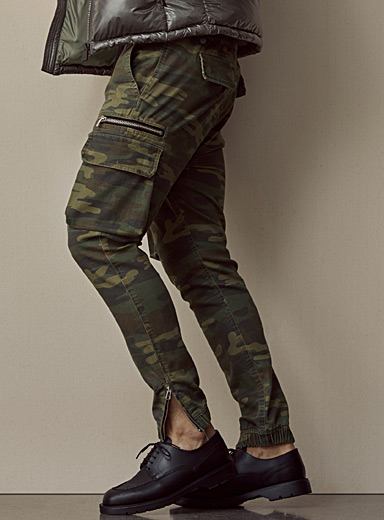 Recycled polyester and organic cotton camo cargo joggers