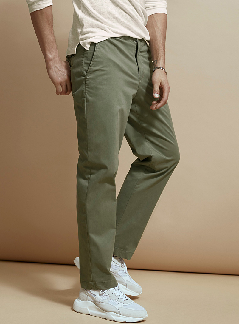 Le 31 Mossy Green Organic cotton elastic-waist chinos  Straight fit for men