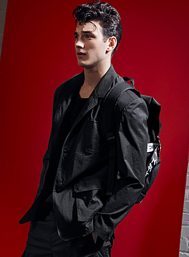 Monochrome stretch nylon jacket